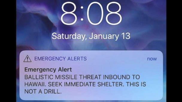 PHOTO: A mistaken alert went out Saturday warning of a missile headed toward Hawaii, Jan. 13, 2018. (Obtained by ABC News)