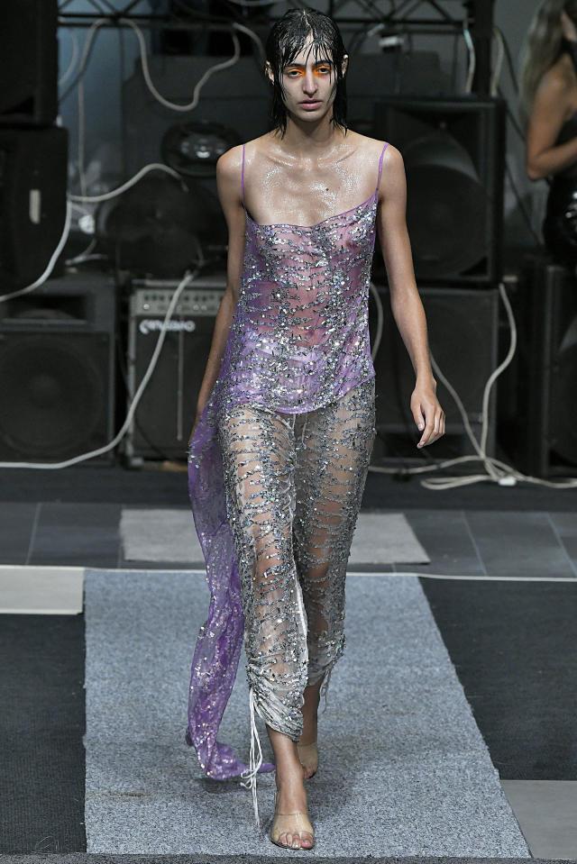 Model in sheer sheath dress in Ashish London Fashion Week show