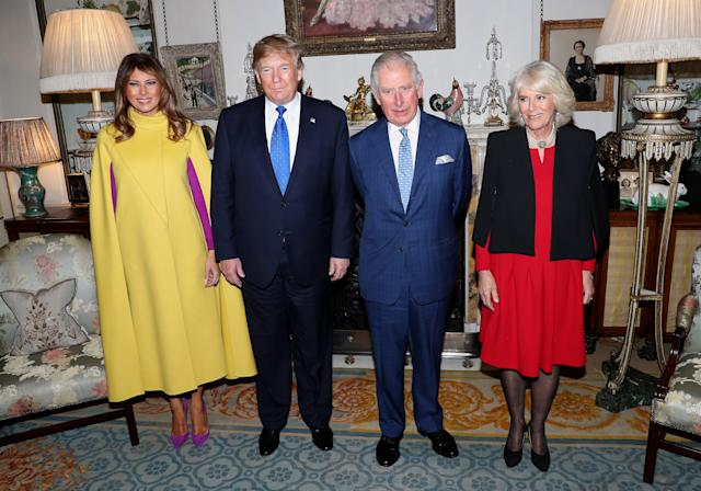 First lady Melania Trump, US President Donald Trump, Prince Charles, Prince of Wales and Camilla, Duchess of Cornwall (Photo by Chris Jackson - WPA Pool/Getty Images)