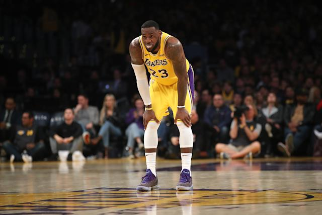 LeBron James doesn't plan to sit out any of the Lakers' remaining 18 games this season. (Photo by Sean M. Haffey/Getty Images)