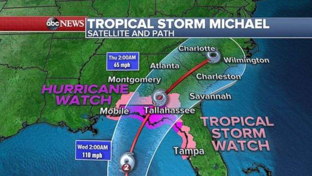 PHOTO: A hurricane warning and tropical storm watch are in place ahead of Michael's arrival. (ABC News)