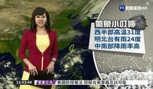 西半部高溫31度 明北台灣降雨24度