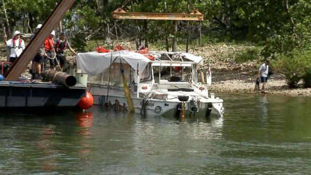 PHOTO: Investigators raised the duck boat, July 23, 2018, that capsized killing 17 people on Table Rock Lake near Branson, Mo. (ABC News)