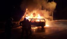 國道5火燒車熄滅 恢復交通 (圖)
