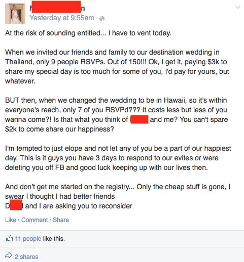 Bride to be demands friends pay $2K-3K to attend destination