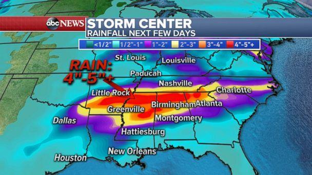 More rainfall and flooding is in store for much of the south-central U.S. (ABC News)
