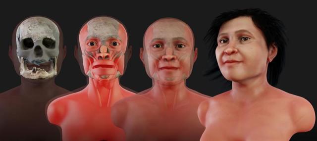 Ilustración cedida por el Instituto Nacional de Antropología e Historia (INAH) que muestra la reconstrucción del rostro de la Mujer de Naharon, que habría vivido hace unos 13.600 años. Milenios antes de que los mayas erigieran sus imponentes pirámides, una pequeña mujer encontró su fin en el fondo de una oscura caverna. EFE/Cortesía INAH/SOLO USO EDITORIAL