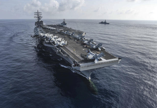 El portaviones nuclear estadounidense USS Ronald Reagan en el Pacífico oriental. (U.S. Navy via AP)