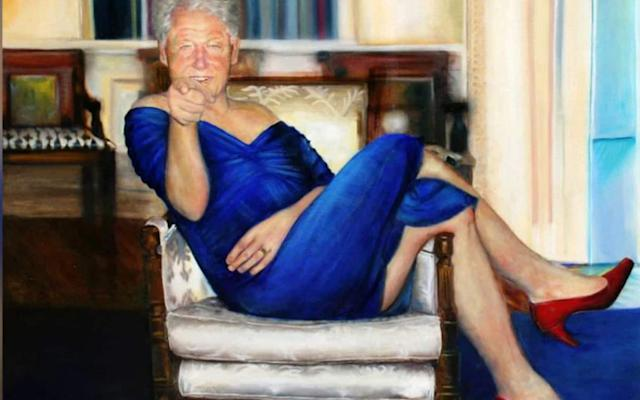 The painting of Bill Clinton, which was displayed inside Jeffrey Epstein's New York home