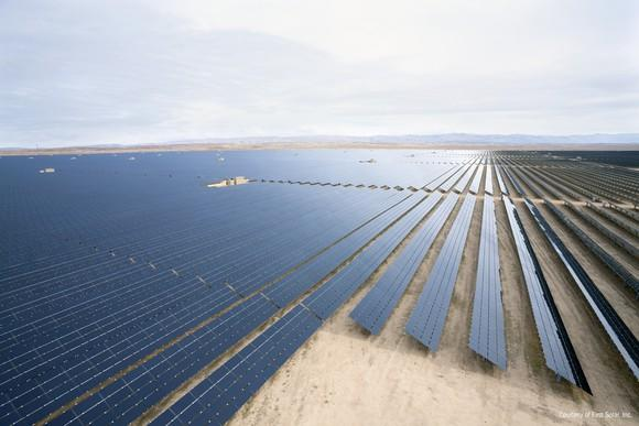 Utility-scale solar project in the desert.