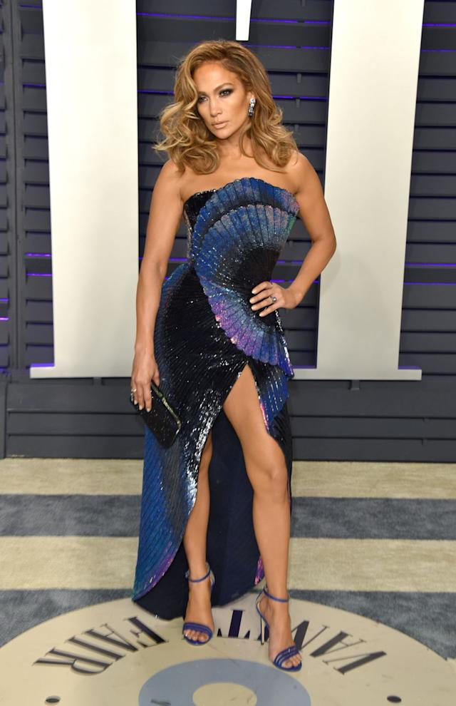 Jennifer Lopez at the Vanity Fair after party of the 2019 Oscars