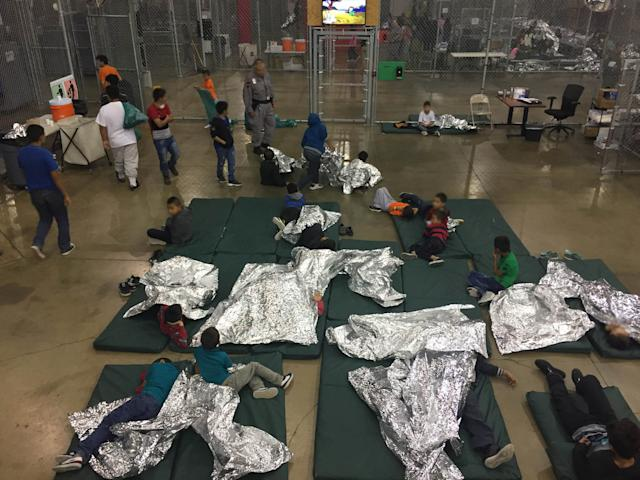 Children at a U.S. Customs and Border Protection detention facility in Rio Grande City, Texas, on June 17. Defending the administration's harsh immigration enforcement policies, Sessions cited a verse from the Bible. (Customs and Border Protection / Reuters)