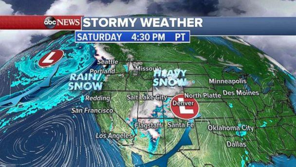 Heavy snow will hit the Rockies on Saturday, as another storm approaches the Pacific Northwest. (ABC News)