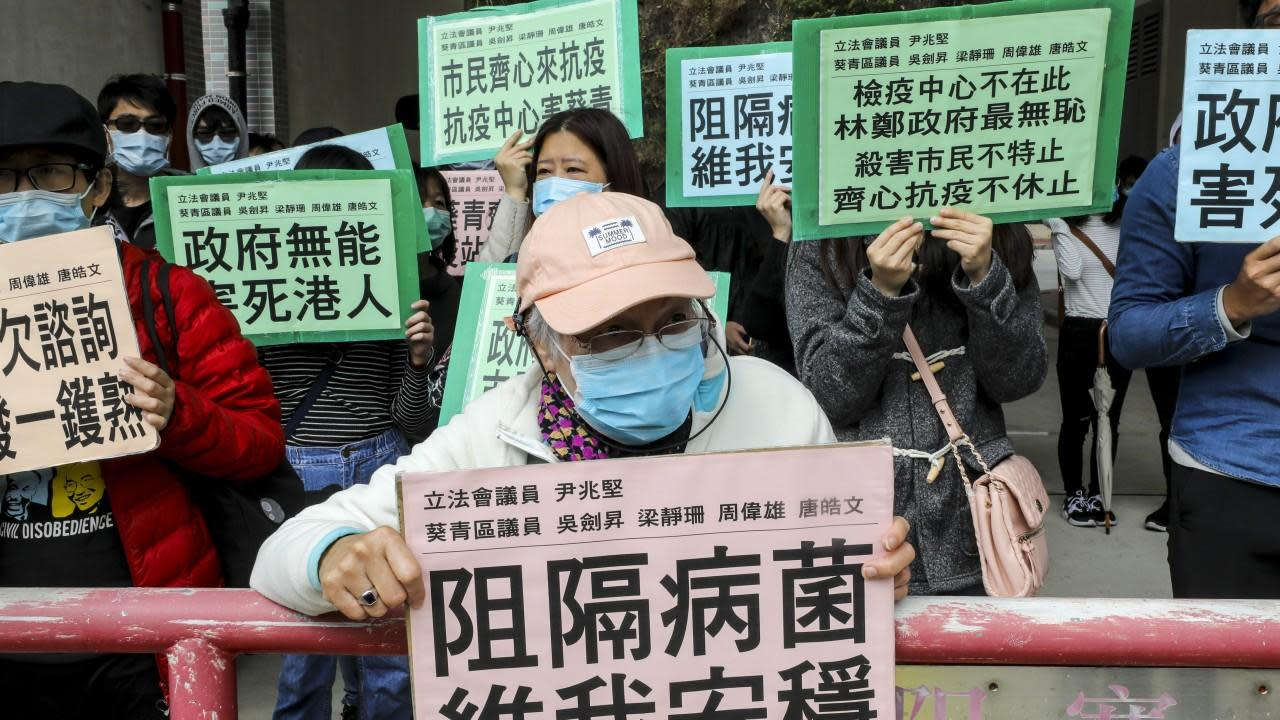 Coronavirus: hundreds protest against Hong Kong quarantine sites in five locations near residential estates
