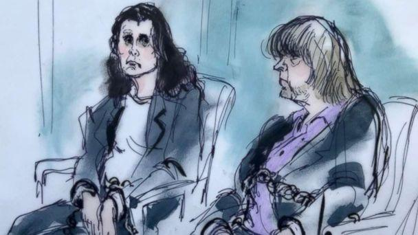 PHOTO: Louise Turpin, 49, and David Turpin, 56, are depicted in a sketch made during their first court appearance in California, Jan. 18, 2018. (Mona Edwards )