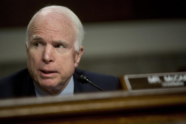 John McCain served for six terms in the U.S. Senate. (Andrew Harrer/Bloomberg via Getty Images)