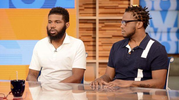 PHOTO: Rashon Nelson and Donte Robinson appear on 'Good Morning America,' April 19, 2018, to discuss their arrest at a Philadelphia Starbucks. (Lorenzo Bevilaqua/ABC)