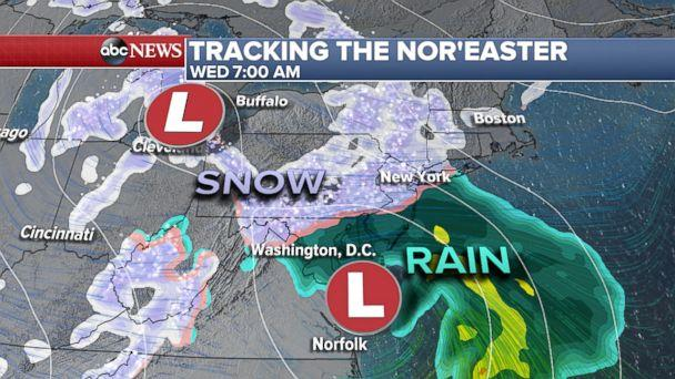 PHOTO: Tracking the nor'easter, Wednesday at 7am. (ABC News)