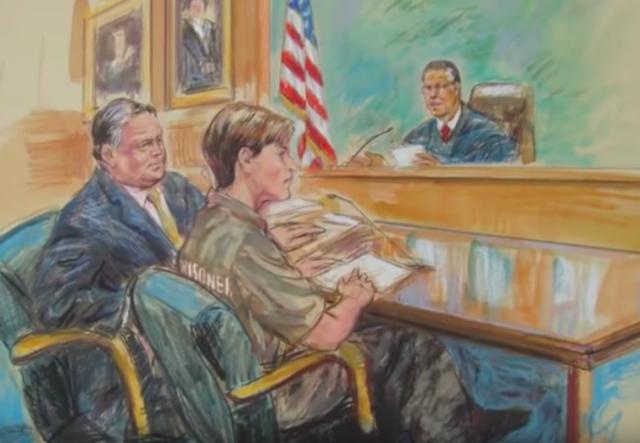 Ilustración del juicio de Ana Belén Montes en un tribunal federal de Washington DC el 16 de octubre de 2002. (Captura de pantalla Youtube)