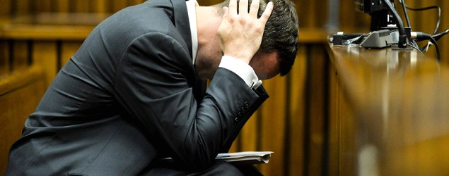 Oscar Pistorius vomited and wept during details from Reeva Steenkamp's autopsy. (Getty Images)