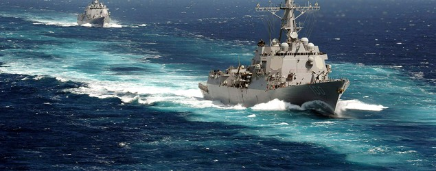 U.S. guided-missile destroyers help search for the missing Malaysian jetliner. (Reuters)