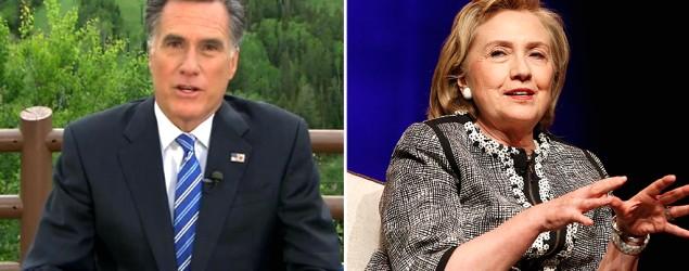 Mitt Romney blasts Hillary Clinton as 'clueless'.  From L-R: Mitt Romney (NBC News); Hillary Clinton (Jonathan Ernst/Reuters)