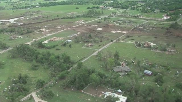 Aerial footage shows devastating aftermath of Oklahoma tornado