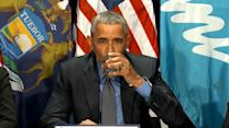 Obama Drinks Filtered Water During Visit to Flint