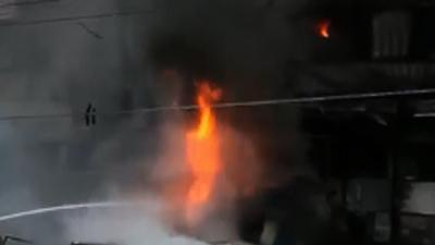 Raw: Gas Tanker Causes Kazakhstan Building Fire