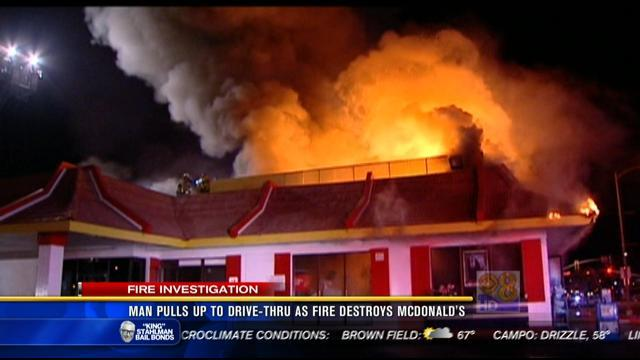 Man pulls up to drive-thru as fire destroys McDonald's