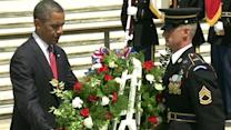 President Obama lays wreath at Tomb of the Unknowns