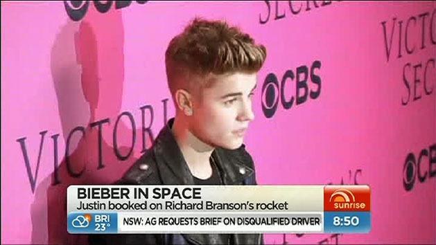 Bieber books trip into space