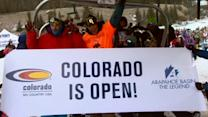 Skiers wait in line for days for opportunity to hit the slopes on opening day of ski season in Colorado