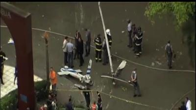Helicopter Crashes in City Square in Brazil