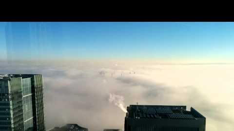 London shrouded in thick fog
