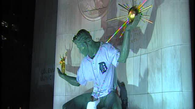 Tigers Jersey on Spirit of Detroit