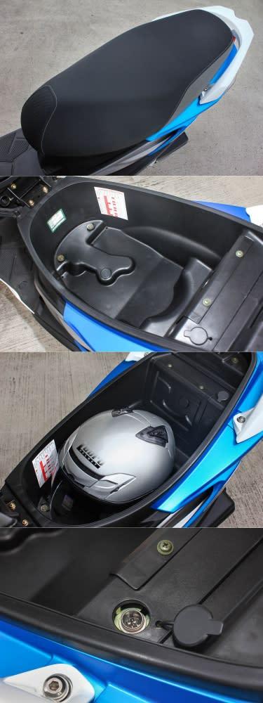 寬大且採用防滑材質的座墊下,Lubro AIR TECH VENTO 3/4帽款可輕鬆塞入,且還有放置隨身物品如雨衣與手套的空間。此外,在座墊空間內也設計了有外接電腦的插座、帶有笑臉的電瓶蓋等特別設計。