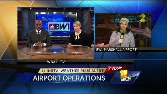Storm grounds BWI fliers, travelers throughout Northeast