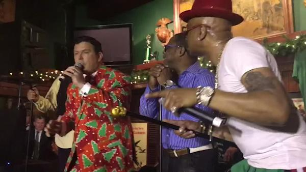 493a911d0c8ac5 Fox News' Bret Baier Raps with Sugarhill Gang at His Show's Holiday Party