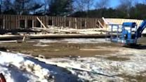 Poland fire station construction collapses