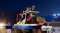 Mike Lyons gives First Alert Forecast from top of elephant