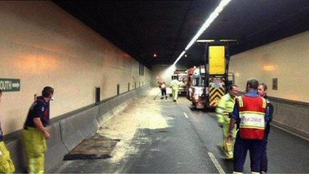 Tunnel chaos after oil spill