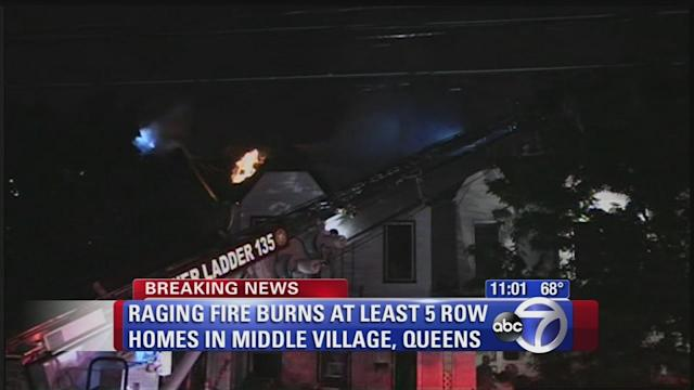 Fire burns through buildings in Middle Village
