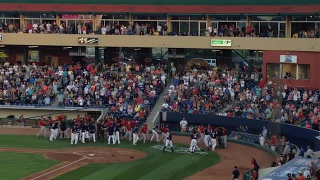 Wild bench-clearing brawl during minor league game