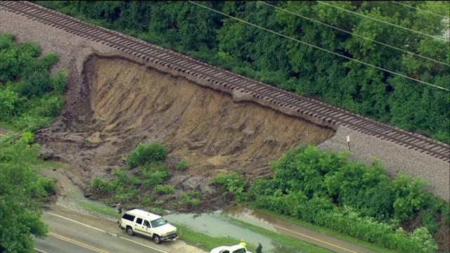 RAW: Metra service in Crystal Lake stopped due to `landslide` under rails