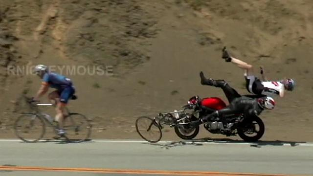 Caught on Tape: Motorcyclist Crashes Into 2 Bicyclists