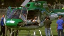 Brazil's star striker Neymar airlifted home