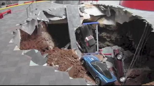 8 Classic Corvettes Swallowed by Sinkhole Caught on Tape