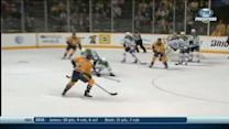 Shea Weber snaps it past Lehtonen's shoulder