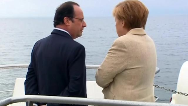 Merkel, Hollande tour Baltic Sea coast by boat